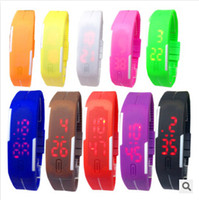 Wholesale Colorful Soft Led - Colorful Waterproof Soft Led Touch Watch Jelly Candy Silicone Rubber Digital Screen Bracelet Watches Men Women Unisex Sports Wristwatch