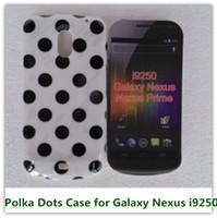 polka dot tpu case оптовых-Белый горошек мягкие TPU конфеты кожи мешок задняя крышка чехол для Samsung Galaxy Nexus I9250 телефон сумки
