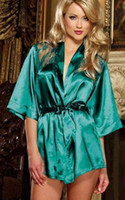 Wholesale Ladies Bow Lingerie - 4 Color Hot Seller S~3XL Plus Size Sexy Lady Satin Mid Sleeve Bowtie Bow Robes Lingerie Babydoll Lace Night Sleepwear Bathrobe