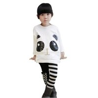Wholesale Children Clothes Panda - children girls clothing sets outfits 2pcs set panda batwing sleeve pants striped leggings kids pullover coats 2014 striped pants Leggings