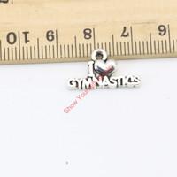 jimnastik kolye toptan satış-30 adet Antik Gümüş Kaplama I Love Jimnastik Charms Kolye Takı Yapımı için DIY El Yapımı Zanaat 11X20mm Takı yapımı DIY