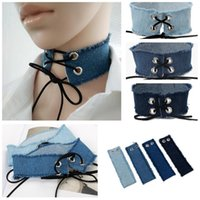 Wholesale blue lace choker necklace - Wholesale- Gothic Lace Up Choker Blue Denim Choker Necklace for Women Punk Jewelry Harajuku Big Chunky Jean Necklace Collier Chokers 3810