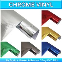 Wholesale Chrome Vehicle Wrap - Mirror Chrome Vinyl Wrap High Poly Shinny Chrome Car Stickers Silver Chrome Vehicle Wrapping Air Free Release 1.52x30M 5x65Ft
