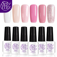 Wholesale Cheap Gel Nail Sets - Wholesale- Sexymix 6pcs lot Newest Nude Pink Color Set LED Nail Gel Professional French Manicure Gel Nail Polish Set Cheap Price 7ML