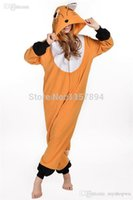 Costumi all'ingrosso-Halloween regalo Onesies adulti Fox Animal Polar Fleece Pajamas Spedizione Materiale Cosplay Pigiama pagliaccetto tuta libero