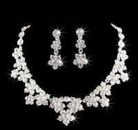 Wholesale crystal pageant earrings - Wedding Jewelry Shining New Cheap 2 Sets Rhinestone Bridal Jewelery Accessories Crystals Necklace and Earrings for Prom Pageant Party