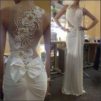 pinceles al por mayor-Vestidos de novia vintage con gasa blanca pura Sin respaldo Cepillo Tren Sirena larga Nuevos vestidos de novia elegantes