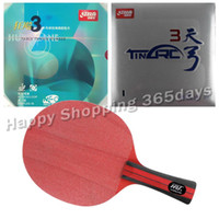 Wholesale Dhs Tinarc - Wholesale- Pro Table Tennis PingPong Combo Racket Racket HRT Red Crystal with DHS NEO Hurricane 3 and TinArc 3 Long Shakehand FL