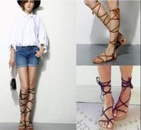 Wholesale Casual Goth - 2015 brand new designer Faux Leather Strappy Roman Goth Gladiator Thong Lace Up Bandage Sandals knee high boots Flat Shoes