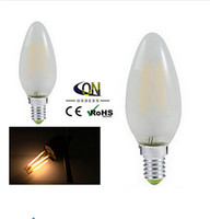 Wholesale E14 3w Led Clear Candle - E14 2W 4W New Design 220V COB LED Filament Lights Bulb LED candle light tungsten warm pure white 360 degree