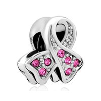 Wholesale Awareness Beads - European style crystal ribbon breast cancer awareness medical metal bead women lucky charms Fits Pandora charm bracelet