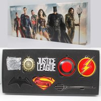 The Movies, Justice League Key Chain Necklace Pendant 7PCS Set Keychain Collection Pacchetto regalo scatola regalo