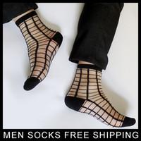 schwarz sehen durch strümpfe großhandel-Schwarze männliche Strümpfe nylon transparente silk Socke ultradünnes reizvolles Sehen Sie durch Plaid-Absatzmänner Geschäftssocken