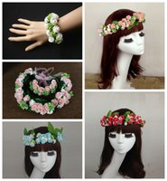 2pcs / Sets 2015 Mariage Fille Nuptiale Fleur Couronne Rose Blanc Rattan Garland Hawaii Flower Head Wreath Accessoires Cheveux (Head + Wristband)
