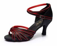 Wholesale Sexy Dance Latin Shoe - New Fashion women dance shoes Sexy comfortable Satin Ballroom Latin Tango shoes High heel 7CM