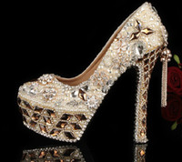 Wholesale Crystal Beaded Jeweled Shoes - Gorgeous Shoes Luxury Elegant Rhinestone Crystal Wedding Bridal Dress Shoes Jeweled Beaded Women High Heels Evening