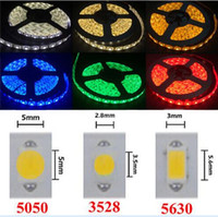 Wholesale dc cooling - High Birght 5M 5050 3528 5630 Led Strips Light Warm Pure White Red Green RGB Flexible 5M Roll 300 Leds 12V outdoor Ribbon