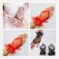 Wholesale Cheap Short Black Gloves - Wedding Gloves White Red Black Gloves Bridal Gloves 2015 Tulle Lace Diamond Bow Cheap Short Gloves 12cm W6466