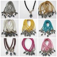 leather lucky charm bracelets großhandel-Heiß ! 100 Stück HAMSA HAND