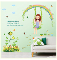 Wholesale Girls Removable Wall Art Stickers - Removable PVC Decal Wall Sticker DIY Art Home Decor --Lovely Girl with Precious Dream Playing on a Swing Wall Art Mural Sticker Decor