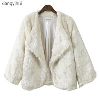 Wholesale Fake Mink Coats -  Short Loose Pattern Winter Mink Coats Women 2017 Autumn Warm White Faux Fur Coat Elegant Thick Army Green Fake Fur Jacket CT071