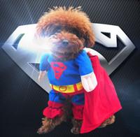 batman mardi gras al por mayor-PERRO Superman Spider-man Batman ropa para perros ropa para gatos cuatro patas Cambiar para empacar cachorro peluche mascota