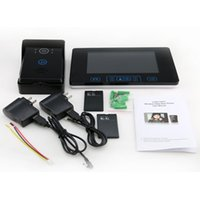 """Wholesale Lcd Video Door Phone Wireless - 7""""LCD Monitor 2.4GHz Touch Button Wireless Video Door Phone Intercom Doorbell Unlocking Camera with Solar Charger 2016"""