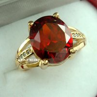 Wholesale Solid Gold 18k Diamond - 18K GOLD GF HUGE ANTIQUE RUBY DIAMONDS WEDDING WOMENS SOLID RINGS SZ 8-10 R261