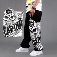 Wholesale Graffiti Harem Pants - 2015 Mens Rhinoceros Trouser Rap Streetwear B-boy skull graffiti hip-hop Skate pants Jogging Harem Pants
