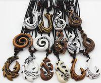 Wholesale Maori Pendants - 2017 Mixed Hawaiian Jewelry Imitation Bone Carved NZ Maori Fish Hook Pendant Necklace Choker Amulet Gift lady necklace man