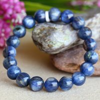 Wholesale Natural Blue Kyanite - Discount Wholesale Natural Blue Kyanite Crystal Men's Stretch Finish Bracelet Round Beads 10mm 03826