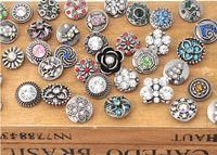 Wholesale Diy Jewel Rhinestone - diy snap button 12mm fit for bracelet noosa button Jewel carve buttons rhinestone snap button hot sale mix color top quality 50pcs lot