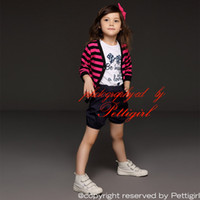 Wholesale retail girl shirt for sale - Pettigirl Retail Girls Suits Coat T shirt And Black Shorts For Kids Clothes Casual Soft Sets Children Wear Drop Shopping CS41207