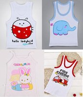 Wholesale Cheap Girls Tanks - Fashion Children's Tank Tops baby girl boy cartoon summer clothing vest cheap kids summer beach clothing 90-120 colorful drop shipping