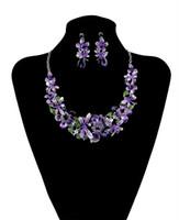 rhinestone-schellfisch-halsketten-sets großhandel-Mode-koreanische Art-Silber-Ketten-bunte Charme-Rhinestone-schöne Blumen-Libellen-Schellfisch-Statement-Halskette und Ohrringe stellten Frauen-Schmuck ein