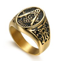 2017 Hot Vintage 316L Stainless Steel Men Ring Ouro Free Mason Freemasonry Masonic Masculino Retro Punk Black Brand Ring Jewelry