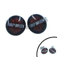Wholesale Black White Enamel Earrings - Free Shipping! Enamel Letters Biker Earrings Studs Stainless Steel Jewelry Fashion Black Motor Biker Men Women Earring SJE0003