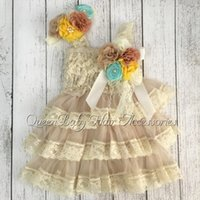 Wholesale Infant Orange Summer Dresses - New Arrival Hot Selling Retail vintage Ivory Lace Infant Dresses Matching Headband and Broche Clip 1set lot
