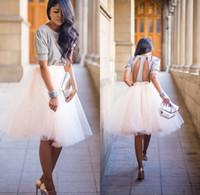 Wholesale Tutus Faldas - New Tutu Tulle Skirts For Women 2016 Vintage Skirts Bridesmaid Tea Length Party Skirts Dresses Petticoat faldas de tul para mujer
