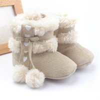 Wholesale Keep Hot Fashion Wholesale - Fashion New Hot baby soft shoes baby girls keep warm cotton boots bows hairball soft comfortable toddler kids first shoes Baby shoes E0597