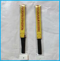 sarı deri softball headbands toptan satış-Yeni Softbol Headbands - Kırmızı Dikiş Dikiş ile Sarı Deri Fastpitch Streç Elastik Spor ve Moda Kafa Bandı