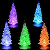Wholesale Small Light Tree - 7 Color Changing White Pine Small Christmas Tree Lamp Light Children Xmas Gift Christmas Decorations