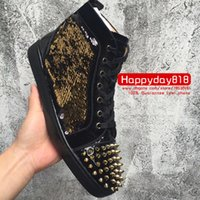 Wholesale strass crystal shoes - Free shipping real photo fashion sneakers Blackk Glitter Gold spikes rivets crystal strass flats hip top lace top flats shoes boots