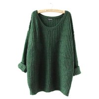 Wholesale Union Jack Black - Wholesale-On Sale Super-loose women sweaters and pullovers flag wool jumper batwing sleeve Loose shrug Thicker section Union Jack bat