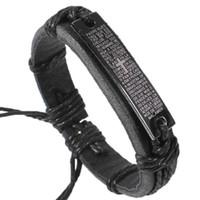 Wholesale Wholesale Lazer Gifts - 12pcs lot 2015 New wholesale lazer cross charms genuine leather bracelets bangles jewelry gift items for women men