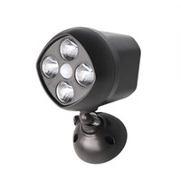 4 * 3W Bombillas LED 4LEDs resistente a la intemperie inalámbrico Powered LED ultra brillante Spotlight con sensor de movimiento de la lámpara de pared de luz para exterior / interior