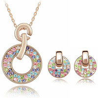 Wholesale Swarovski Necklaces China - 2017 Fashion Jewelry Sets Necklace Earrings Swarovski Elements Colorful Crystal Necklaces Pendants 18K Rose Gold Plated Earrings For Women