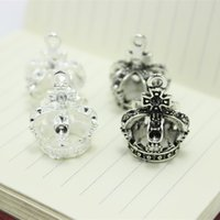 Wholesale Crown Charms 3d - Wholesale (15 pieces lot) 19*24mm two color Alloy 3D Crown Charms Jewelry Pendant Charms D0563