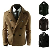 Wholesale Mens Wool Coats Style - Fall-2015 Latest Arrival Wool Coat Male British Style Mens Short Trench Coat ,GMTR032