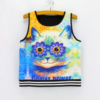Wholesale Everyday Women Dresses - Flower EYES Cat print summer cropped tanks for girls 2016 newest fashion design girls short style top tees women's crop dress wholesale